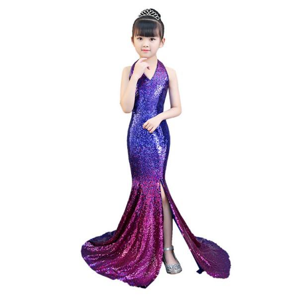 Girls evening dresses for fashion kids children violet fuchsia .