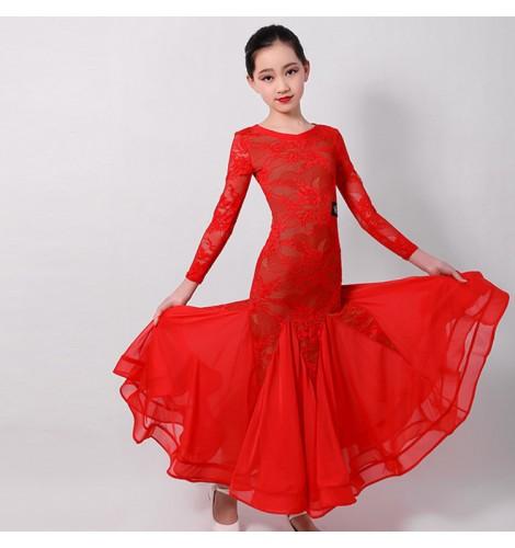 Children kids red black lace ballroom dancing dresses girls .