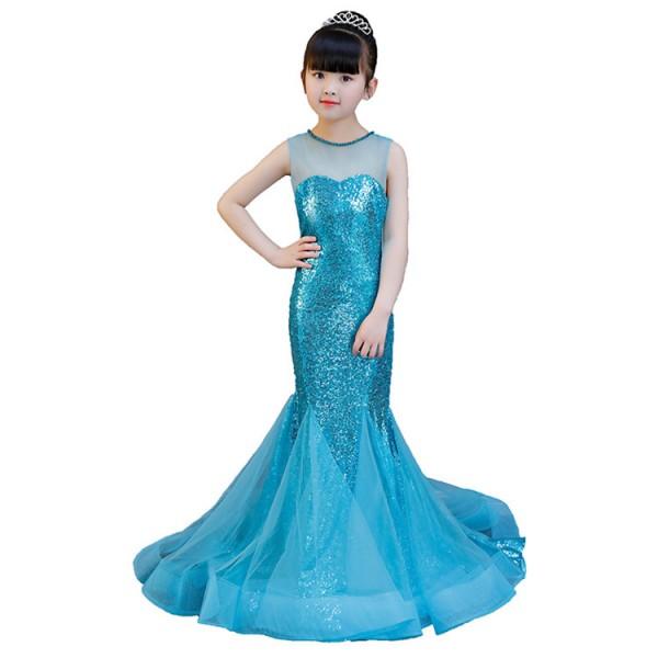 Turquoise evening dresses for girls children princess flower girls .