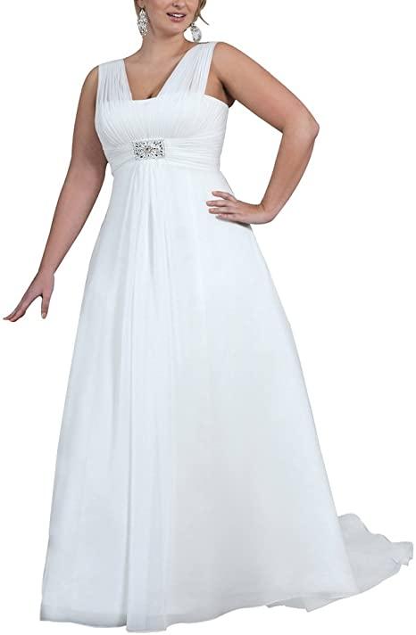Erosebridal Plus Size Wedding Dress for Women V Neck Beaded A Line .
