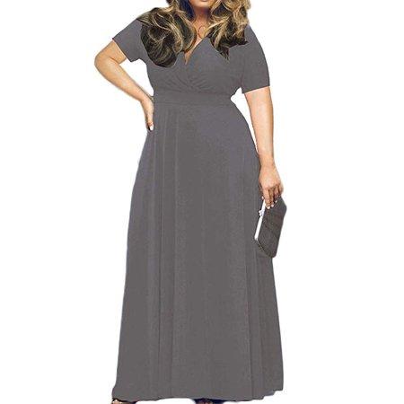 Vista - Women's Solid V-Neck Short Sleeve Plus Size Evening Party .