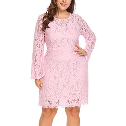 Plus Size Pink Lace Dress: Amazon.c