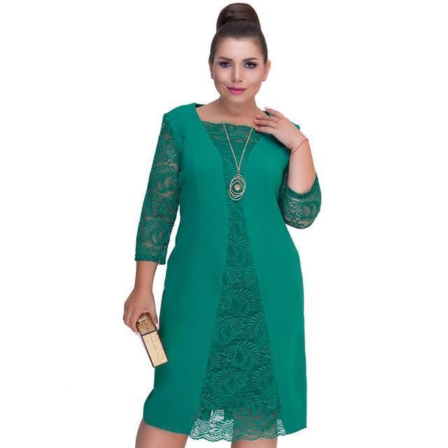 Autumn winter Women lace dress plus size Patchwork office dresses .