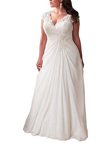 YIPEISHA Women's Elegant Applique Lace Wedding Dress V Neck Plus .