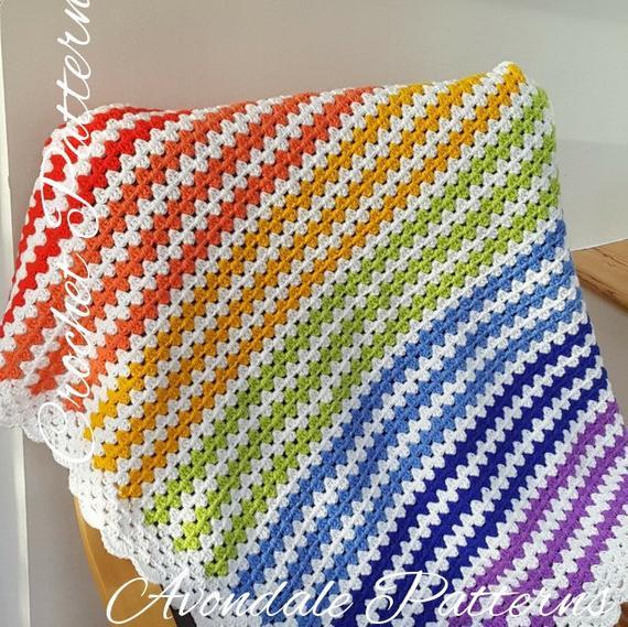 Crochet Blanket Pattern Easy Rainbow Baby Blanket INSTANT | Et