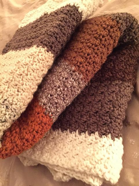 Easy Texture Lap Blanket: FREE crochet pattern by Elaine W .
