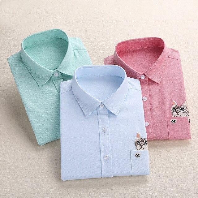 Aliexpress.com : Buy Dioufond Women Embroidery Shirt Cat School .