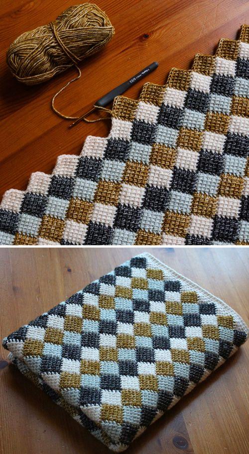 Entrelac Blanket - Free Crochet Pattern (Beautiful Skills .