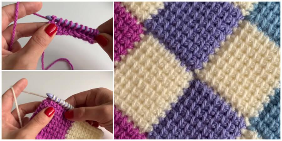 Tunisian Entrelac Crochet Stitch Pattern - Crochet Kingd