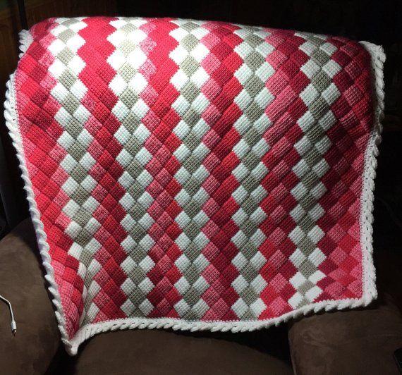 Entrelac Crochet Blanket | Products | Crochet, Tunisian crochet .