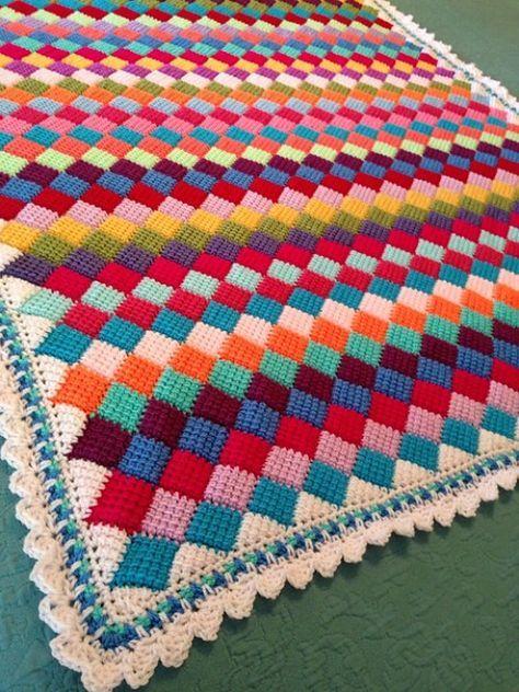 Tunisian Crochet Entrelac Throw - Free Pattern | Tunisian crochet .