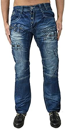 Eto Jeans Designer Men's Regular Fit Funky Distress Look Denim .