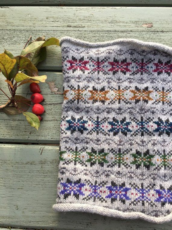 Kyle Fair Isle Knitted Wool Cowl Scarf   Fair isle knitting .