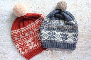Fair Isle Beanie - Free Knitting Pattern | Fair isle knitting .