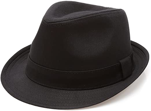 Classic Trilby Short Brim 100% Cotton Twill Fedora Hat with Band .
