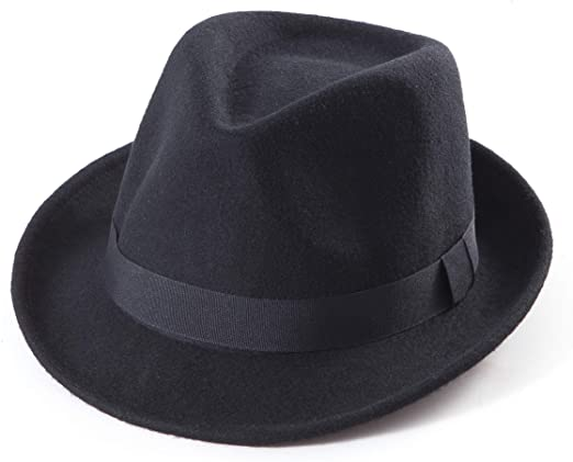 Black Fedora Hat for Men - Classic Wool Hat for Winter Hats Women .