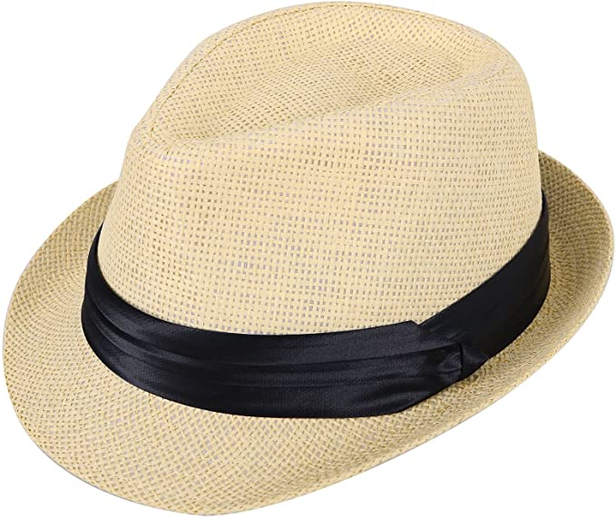 Amazon.com: Kids Fedora Hats Boys Straw Sun Hats for Kids with .