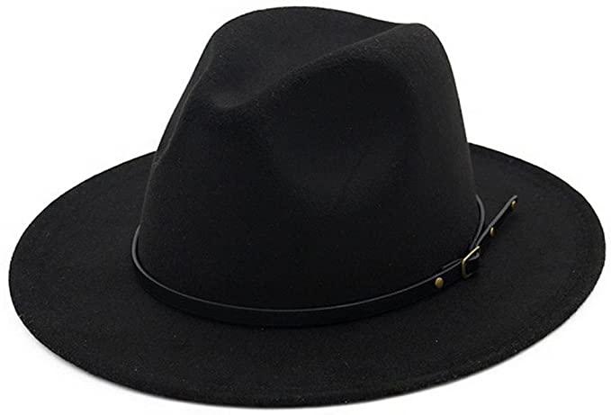 Lisianthus Women Belt Buckle Fedora Hat Black at Amazon Women's .