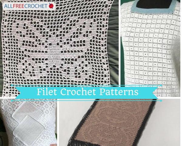 Filet Crochet Tutorial + 6 Filet Crochet Patterns | AllFreeCrochet.c