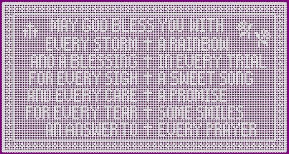 Blessings Wall Decor Christian Theme Filet Crochet Pattern and | Et