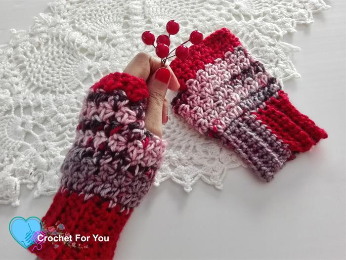 Winter's Cerise Crochet Fingerless Gloves Free Pattern - Crochet .