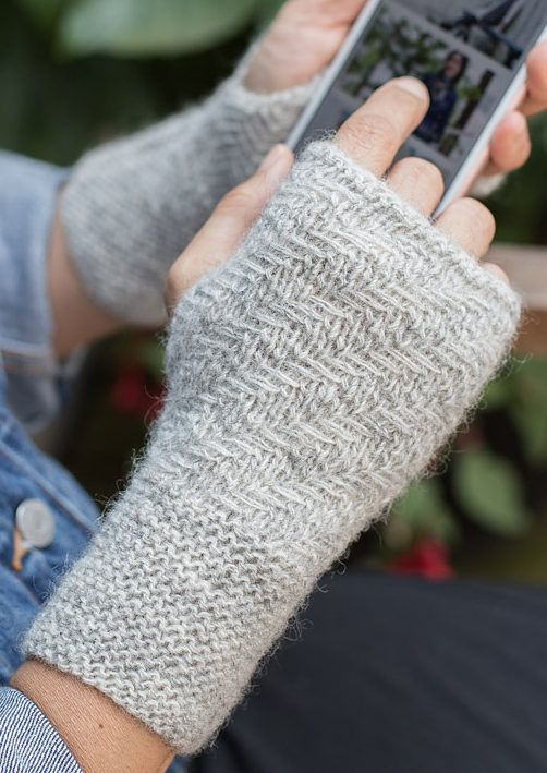 Free Knitting Pattern for Herringbone Mitts - These easy .