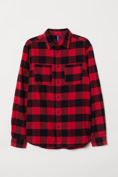 Cotton Flannel Shirt - Red/black checked - Men | H&M