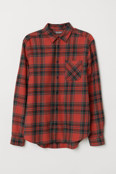 Checked flannel shirt - Red/Green checked - Men | H&M