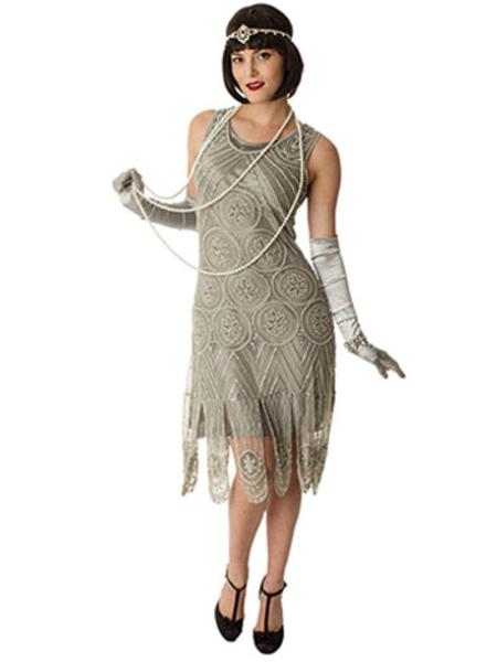 1920s Silver Beaded Sheba Flapper Dress- Roaring Twenties Dresses .