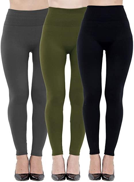 Dimore 3 Pack Womens Leggings High Waisted Fleece Lined-Winter .