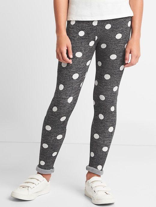 Gap Girls Print Cozy Fleece Leggings True Black | Fleece leggings .