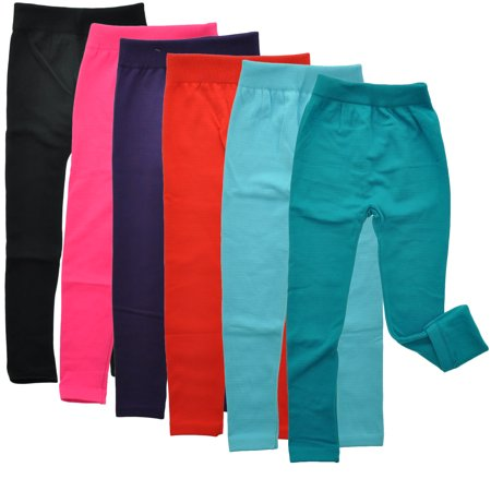 Maria Rosa - Maria Rosa Girls' Fleece-Lined Leggings (6-Pack .
