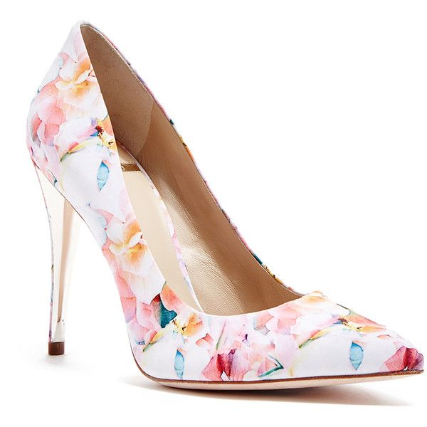 GUESS by Marciano Amy Floral-Print Pump ($96) ❤ liked on Polyvore .