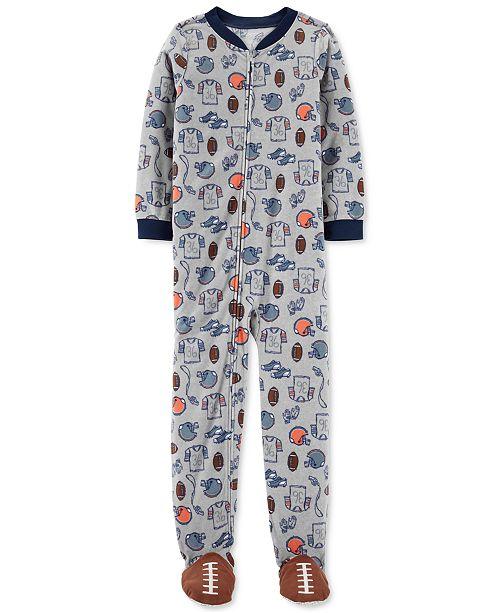 Carter's Little & Big Boys 1-Pc. Football Fleece Footie Pajamas .