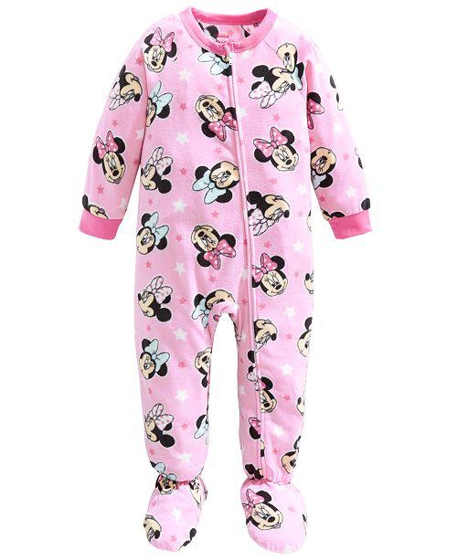 AME Toddler Girls 1-Pc. Fleece Minnie Mouse Footie Pajamas .