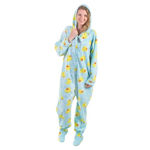 Footed Duckie Adult Onesies, Duck Footie Pajamas, One-Piece Sleepwe