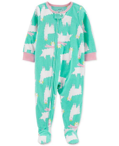 Carter's Toddler Girls 1-Pc. Holiday Llama-Print Fleece Footie .