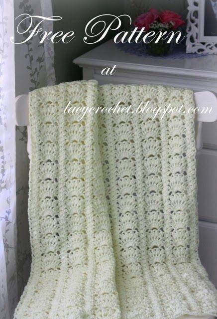 Lacy Crochet: Fancy Shells Baby Afghan Free Pattern ✿⊱╮Teresa .