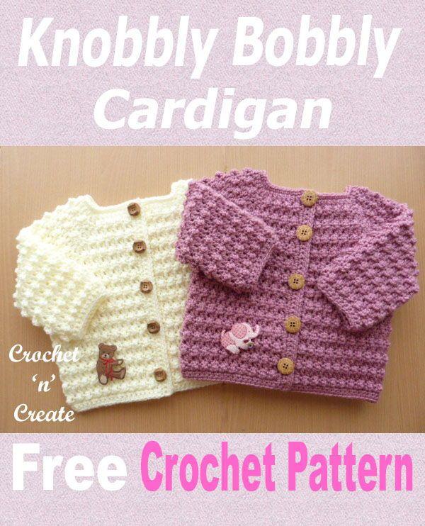 Knobbly baby cardi Free Crochet Pattern | Crochet baby sweater .