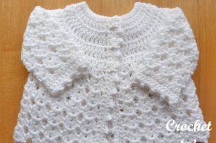 Free Baby Crochet Pattern-Picot Edge Cardigan | Crochet baby .