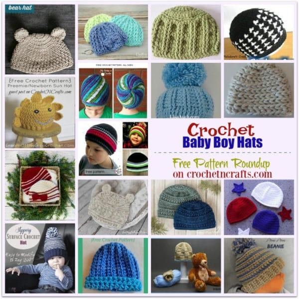 Crochet Baby Boy Hats Free Pattern Roundup - CrochetNCraf