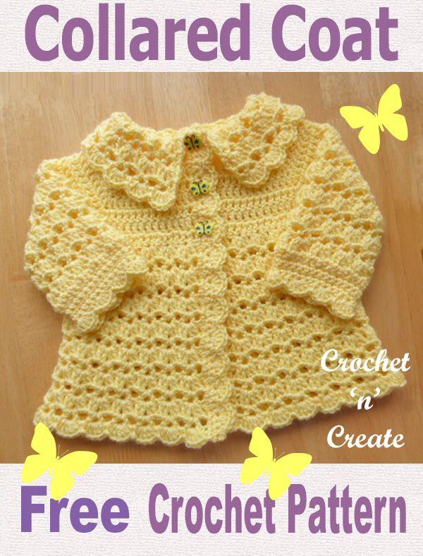 Free Baby Crochet Pattern Collard Coat | Baby sweater patterns .