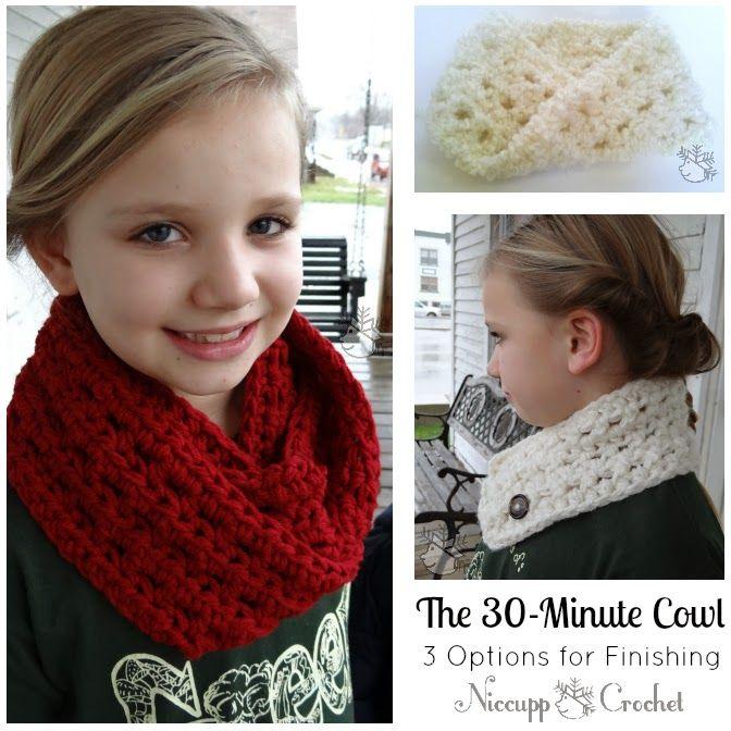 The 30-Minute Cowl - Free Crochet Pattern | Crochet kids scarf .