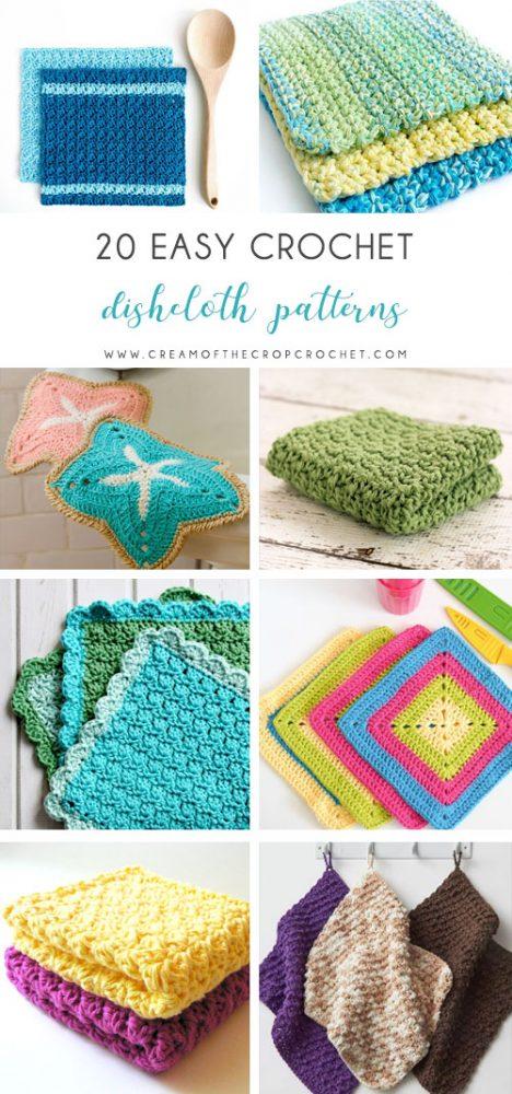 20 Easy Crochet Dishcloth Patterns | Cream Of The Crop Croch