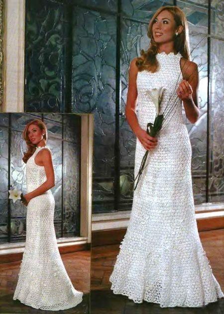 Free crochet pattern. Russian crochet wedding dress, with charts .