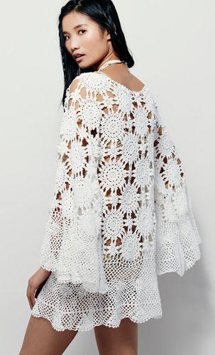 FREE crochet pattern for FREE PEOPLE boho dress   Angel wing dress .