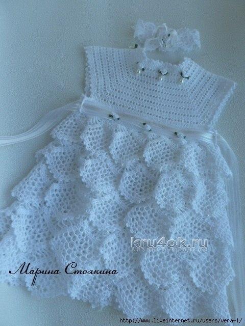 Mesh ruffles baby dress free crochet pattern ⋆ Crochet Kingd