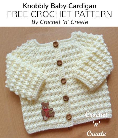 Free Crochet Patterns   Free Crochet Pattern Knobbly Baby Cardigan .