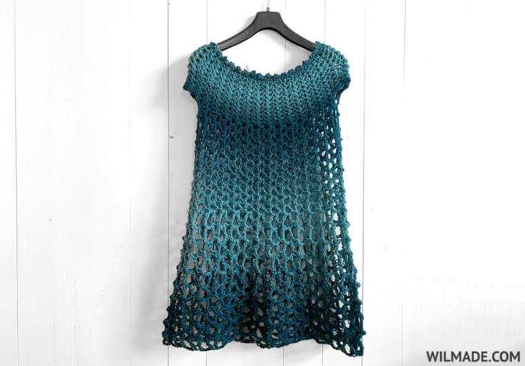 Crochet Poncho Dress - free crochet poncho pattern by Wilma