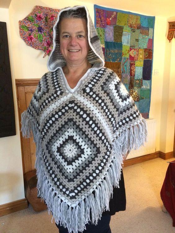 crochet granny square poncho pattern free | Crochet poncho .